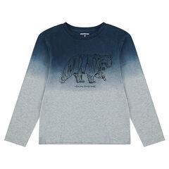 Júnior - Camiseta de manga larga de punto con efecto tie and dye con animal estampado