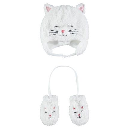 Conjunto de gorro y guantes de borreguillo de gato con forro de micropolar