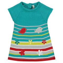 Vestido con rayas de punto con detalles con flores bordadas con pájaros