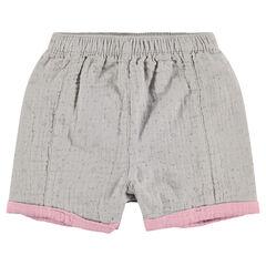 Pantalón corto con forro y efecto de relieve con estrellas estampadas
