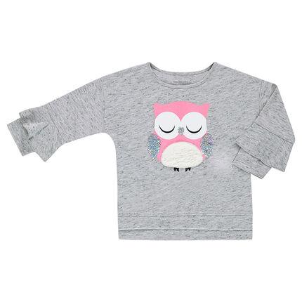 Camiseta de manga 3/4 con lechuza estampada y lentejuelas iridiscentes
