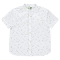 Camisa de manga corta con velcros estampados vegetal all-over.