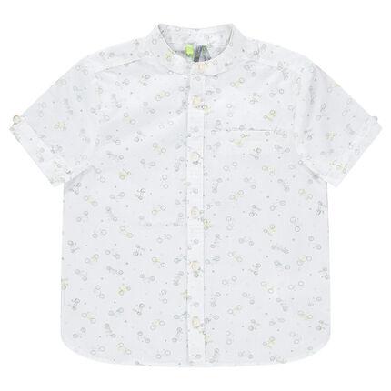 Camisa de manga corta con velcros estampados vegetal all-over.
