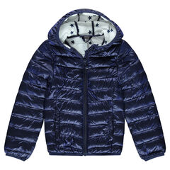Júnior - Anorak ligero, impermeable con capucha y bolsa de almacenamiento estampada