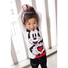 Camiseta de manga larga de punto slub con estampado de ©Disney Mickey y volantes en el cuello