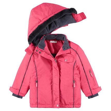 Cazadora de esquí rosa con forro de micropolar