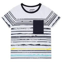 Camiseta de manga corta de rayas con efecto ola y bolsillo