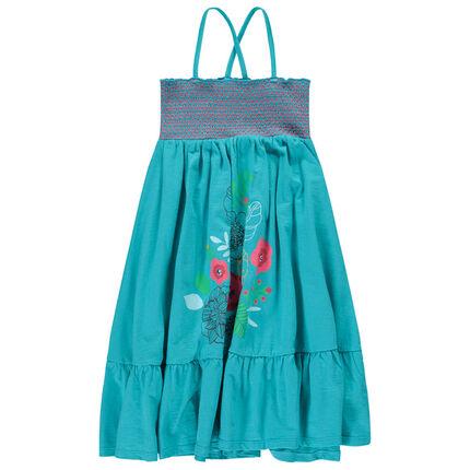 Vestido largo con smocks y flores estampadas