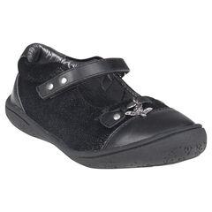 Zapatos merceditas de cuero de color negro con purpurina