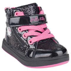 Botas bajas de color negro con cordones con velcro con purpurina Hello Kitty