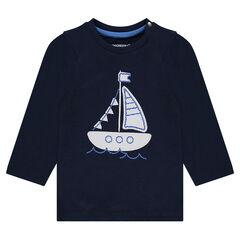 Camiseta de manga larga con parche de barco