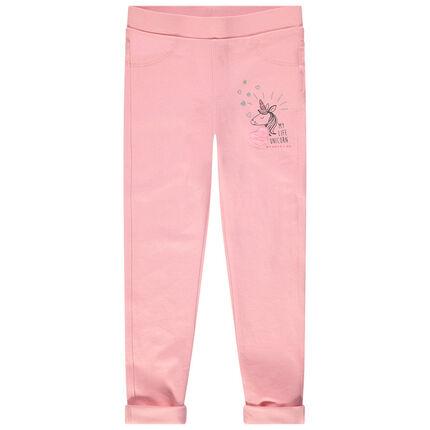 Jeggings lisos rosas con estampado de unicornio y bolsillos