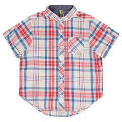 Camisa de manga corta de cuadros con cuello mao