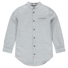 Júnior - Camisa de manga larga de algodón on cuello mao