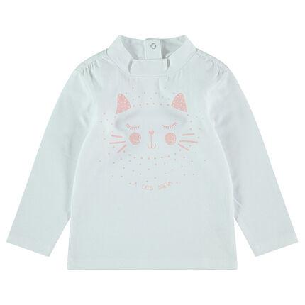 Camiseta de punto con cuello chimenea y gato estampado