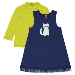 Conjunto de vestido de felpa con gato estampado y camiseta