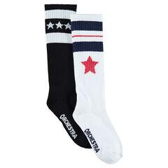 Juego de 2 pares de calcetines altos variados con estrellas de jacquard