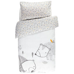Conjunto de cuna con funda nordica con estampado oso y  funda almohada