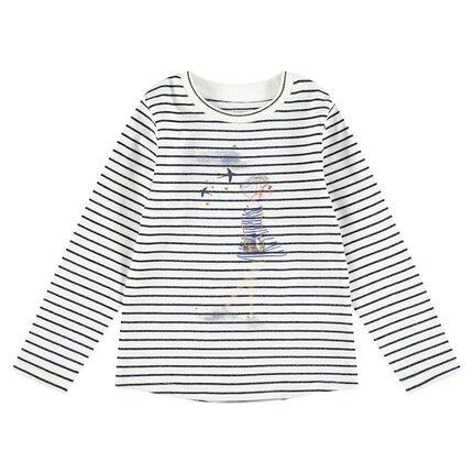 Camiseta de manga larga de rayas all over con silueta estampada