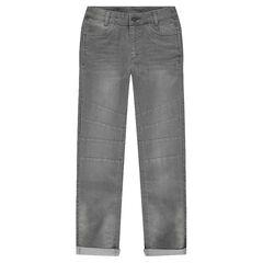 Júnior- Vaqueros gris gastados y arrugados con cortes