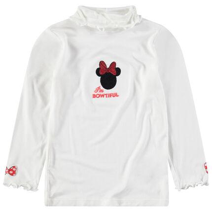 Camiseta interior con cuello vuelto con Minnie Disney bordada por delante