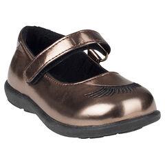 Zapatos merceditas con velcro de color cobrizo con bordado