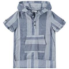 Júnior - Camisa de manga corta con capucha y bolsillo tipo canguro