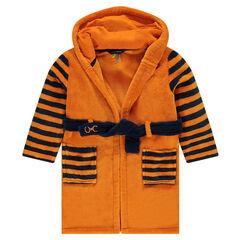 Bata de casa de borreguillo con capucha y bordados de tigre
