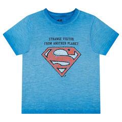 Camiseta de manga corta con efecto tie-dye y logo de ©Warner Supermán estampado