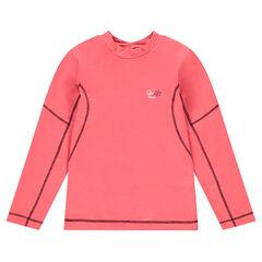 Camiseta de poliéster y elastano con cuello alto y logo estampado