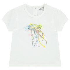 Camiseta de manga corta de punto con medusa estampada
