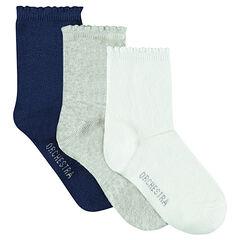 Lote de 3 pares de calcetines de color liso