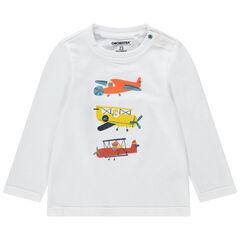 Camiseta de manga larga de punto con aviones estampados