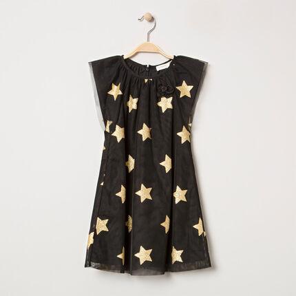Vestido de fiesta de tul de manga corta con estrellas doradas