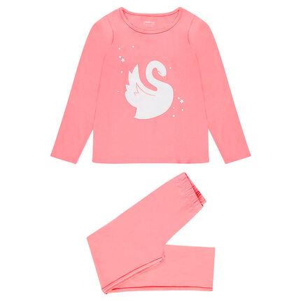 Pijama de punto largo con estampado de cisne