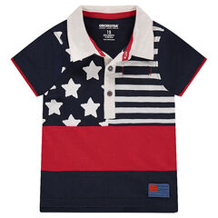Polo de manga corta de jersey slub con estampado estilo bandera