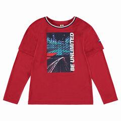 Júnior - Camiseta de manga larga de efecto 2 en 1 con estampado en la parte delantera