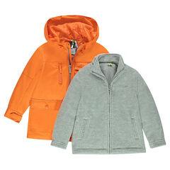 Cortavientos con capucha 2 en 1 con chaqueta de borreguito extraíble
