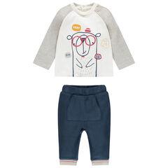 Conjunto bicolor con osito estampado y pantalón con bolsillo