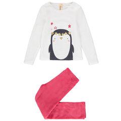 Pijama de polar con dibujo de pingüino