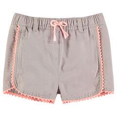 Pantalón corto de punto de fantasía con galones con pompones y lazo