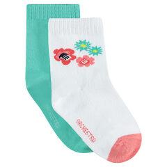 Juego de 2 pares de calcetines variados lisos/de flores