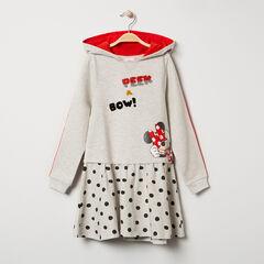 Vestido de manga larga con capucha de felpa y estampado de Minnie Disney