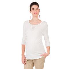Camiseta de premamá de manga 3/4 con apliques de encaje