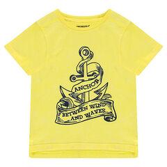 Camiseta de manga corta de punto con ancla estampada