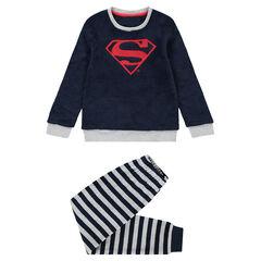 Pijama de polar con logo ©Marvel Spiderman bordado y parte interior de terciopelo de rayas
