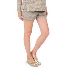 Pantalón corto de embarazo de sarga con banda alta
