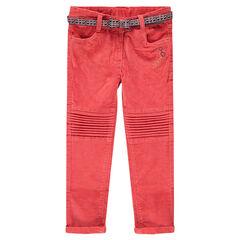 Pantalón de terciopelo raso color coral con cintura estamoada de wax