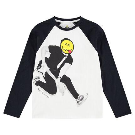Júnior - Camiseta de manga larga de punto con personaje y cabeza de ©Smiley estampados