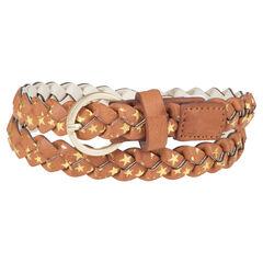 Cinturón trenzado de aspecto cuero con estampado de estrella